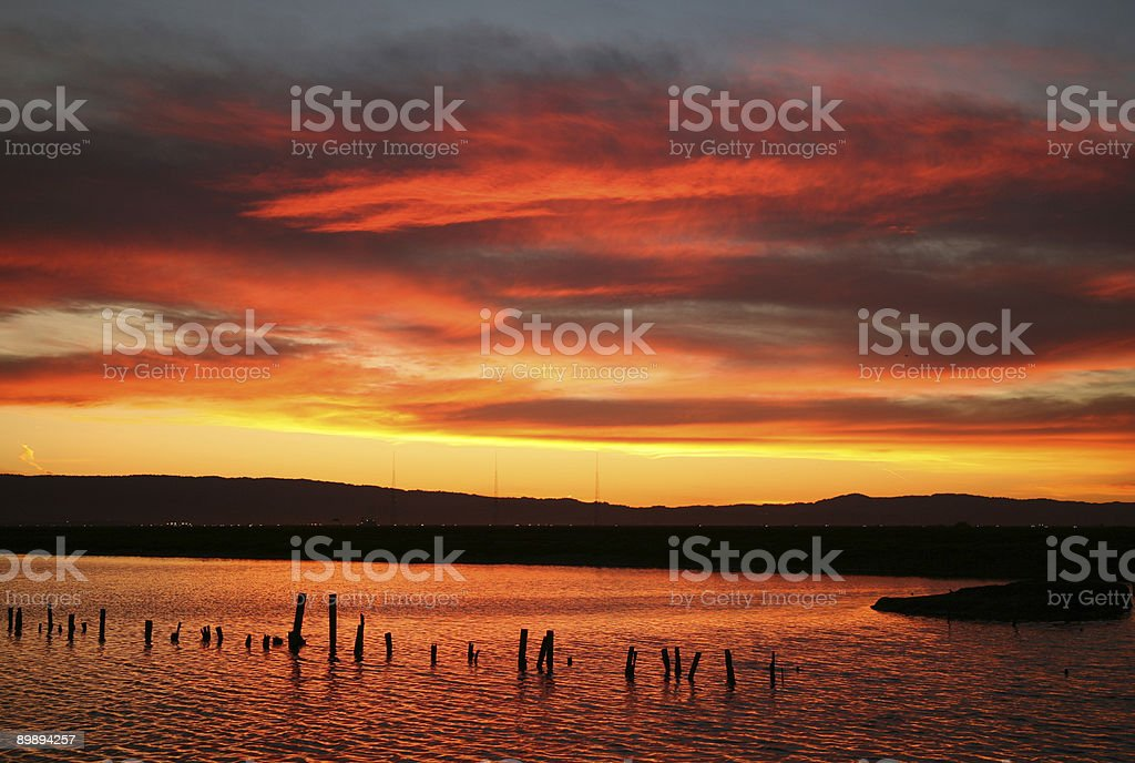 Sunset in the San Francisco Bay Area stock photo