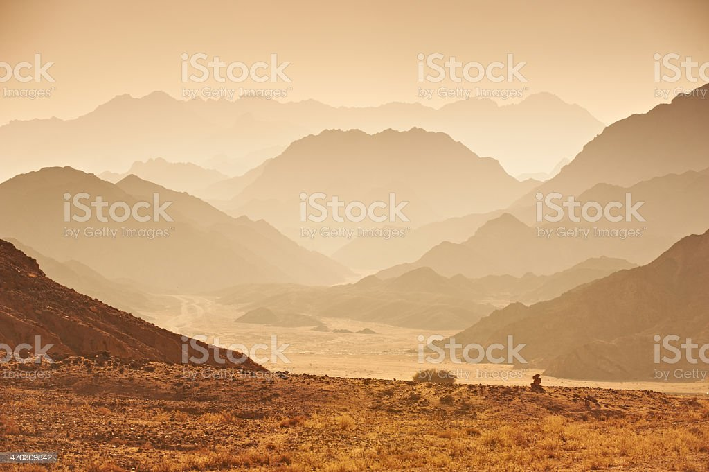 Sunset in the Sinai Desert stock photo
