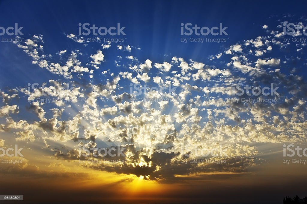 Sunset in the spring royalty-free stock photo