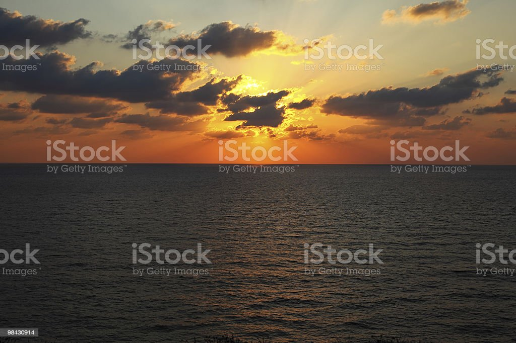 Sunset in the summer above sea royalty-free stock photo