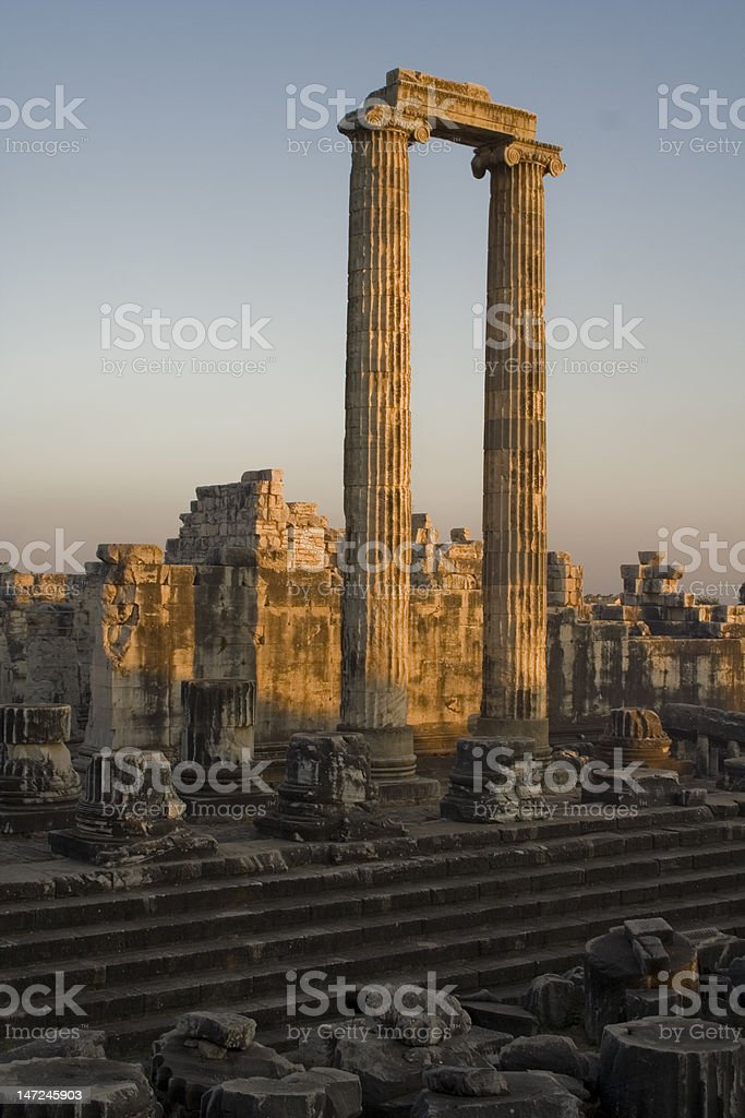 Sunset In The Temple Of Apollo stock photo