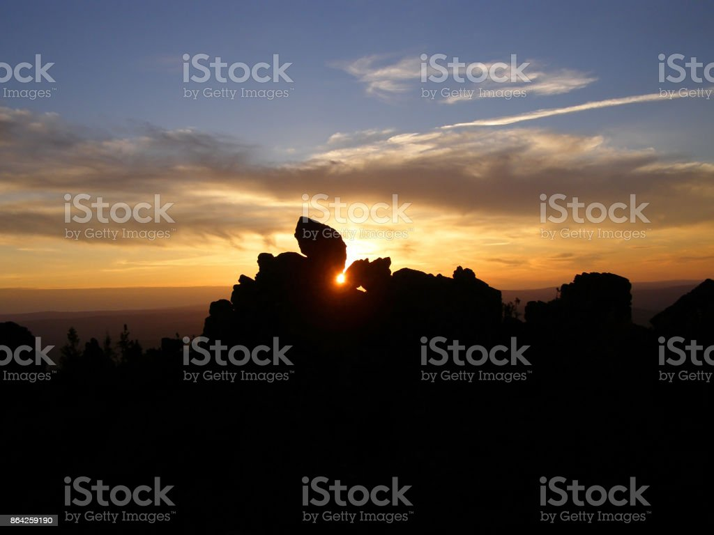 sunset in the Ural mountains stock photo