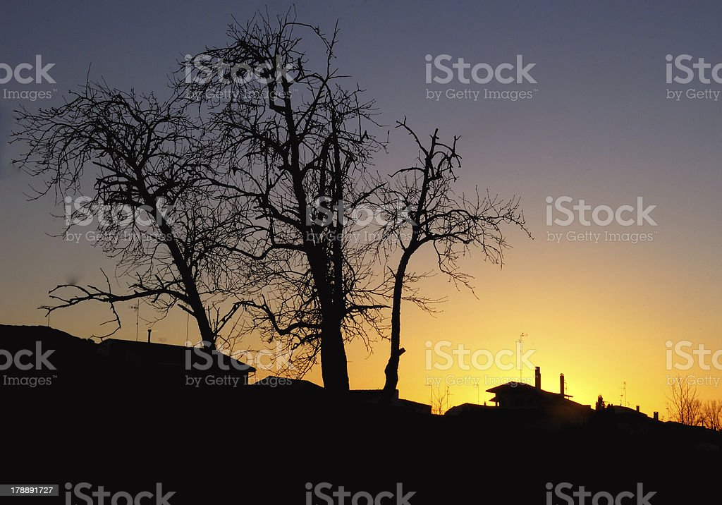Sunset in the village 2 royalty-free stock photo