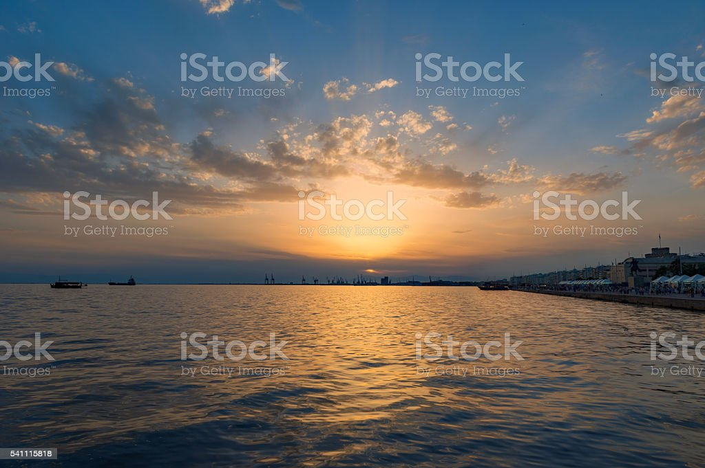 Sunset in Thessaloniki stock photo