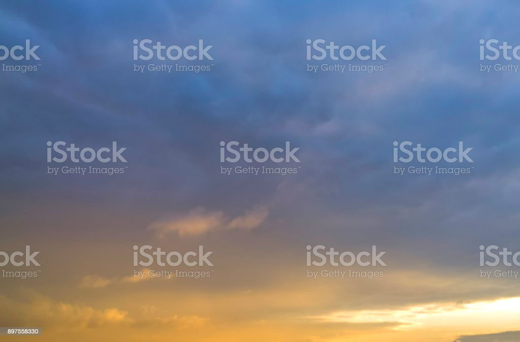 Sunset in thunderclouds. stock photo