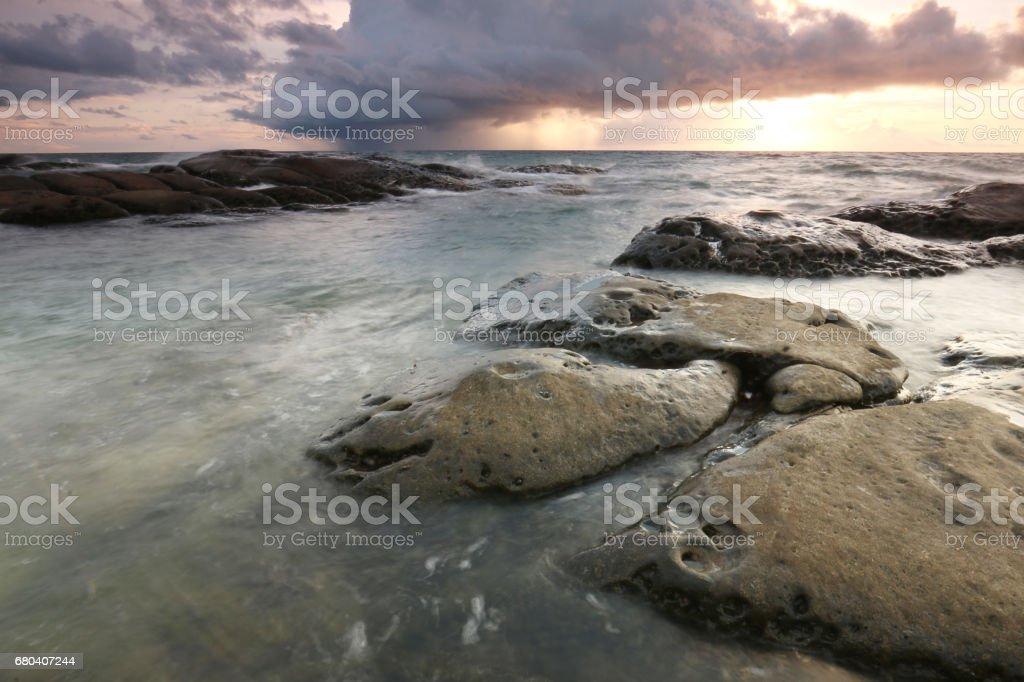 Sunset in Tip Of Borneo, Kudat Sabah stock photo