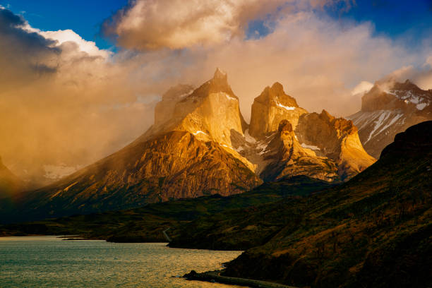 Sunset in Torres del Paine, Patagonia, Chile stock photo