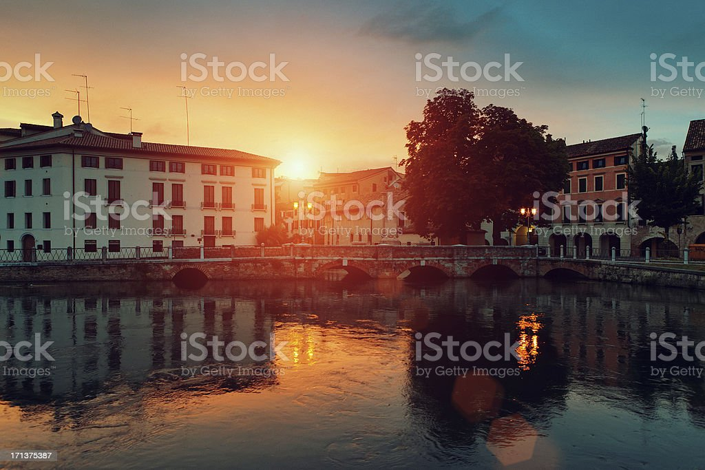 Sunset in Treviso, Italy stock photo