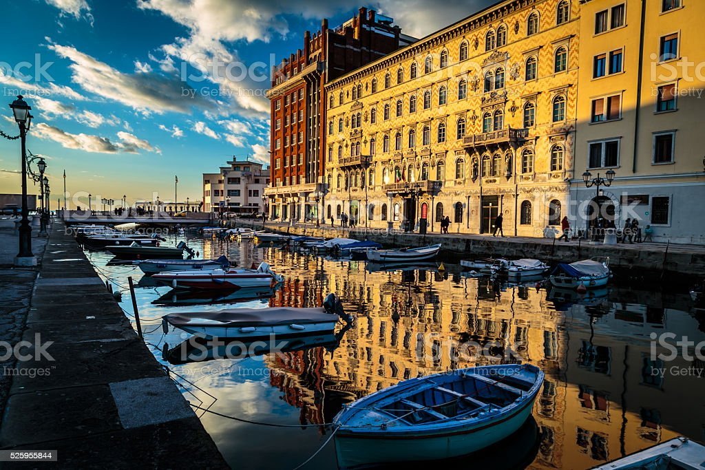 sunset in Trieste stock photo