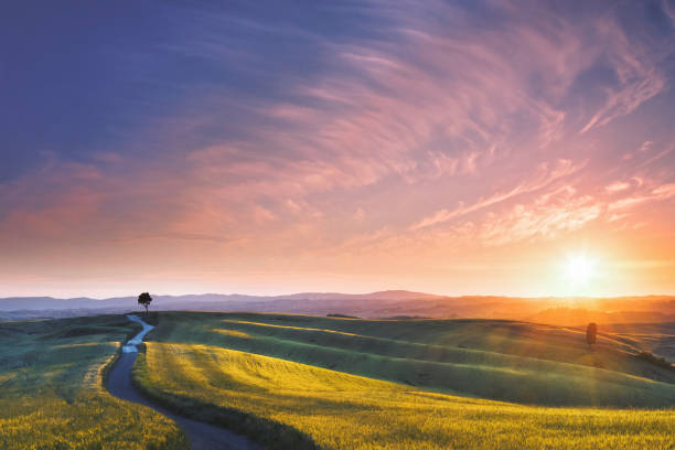 Sunset in Tuscany, Italy stock photo