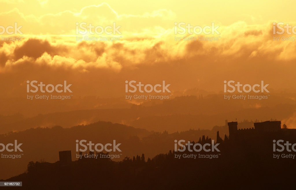 Sunset in Tuscany royalty-free stock photo