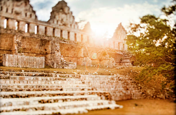 sunset in uxmal - uxmal stock photos and pictures