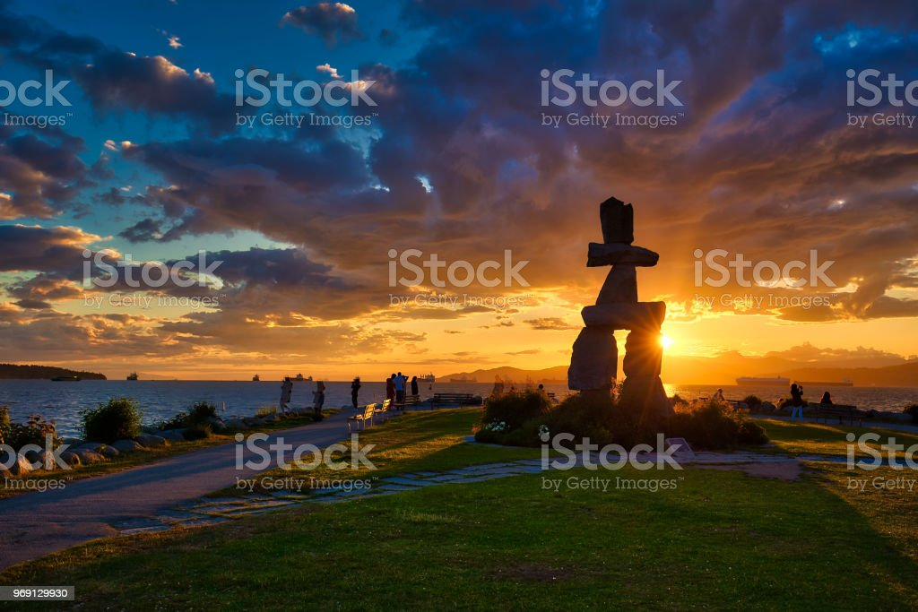 Sunset in Vancouver stock photo