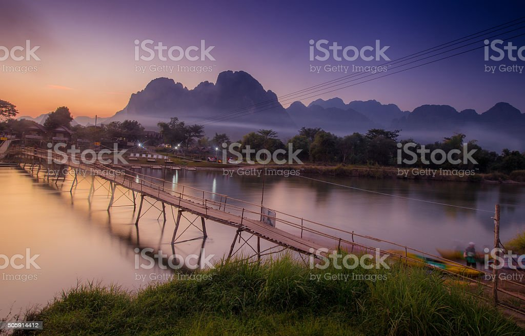 Sunset in Vang Vieng, Laos stock photo