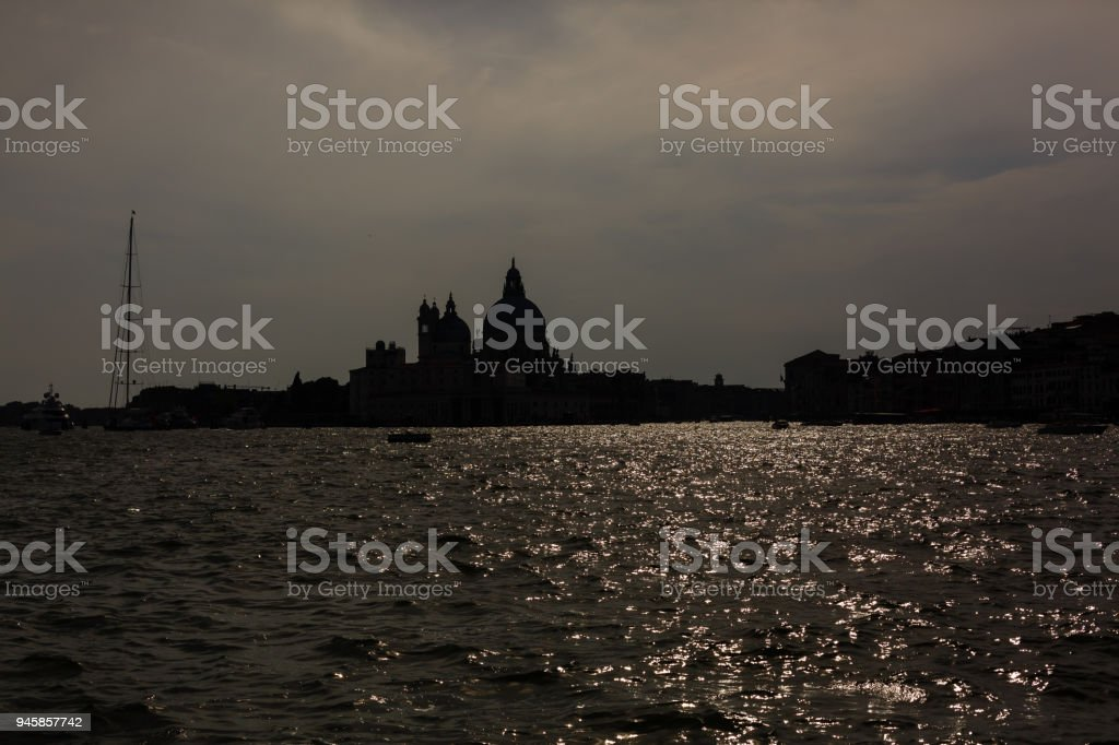 sunset in venice, shot from the sea stock photo
