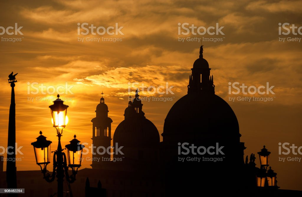 Sunset in Venice with domes stock photo