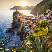 view of Vernazza, one of the 5 villages of cinque terre at sunset. La Spezia. Italy