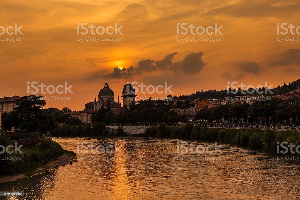 Sunset in Verona, Italy. Summer travel stock photo