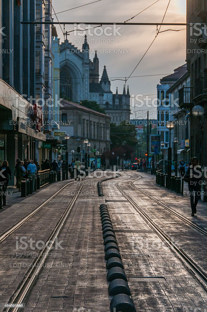 Sunset in Vitoria-Gasteiz stock photo