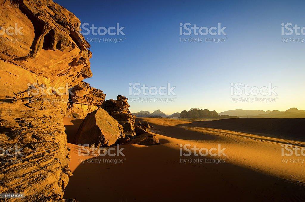 Sunset in Wadi Rum Desert Jordan royalty-free stock photo