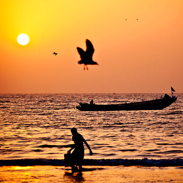 sunset in west african beach stock photo