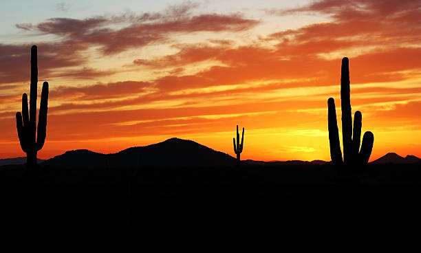 Sunset in Wild West stock photo