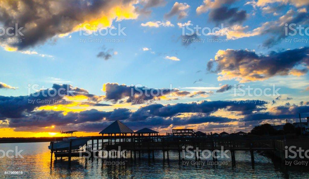 Sunset in Wilmington, NC stock photo