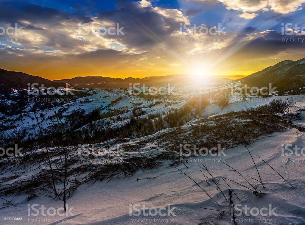 sunset in winter carpathians stock photo