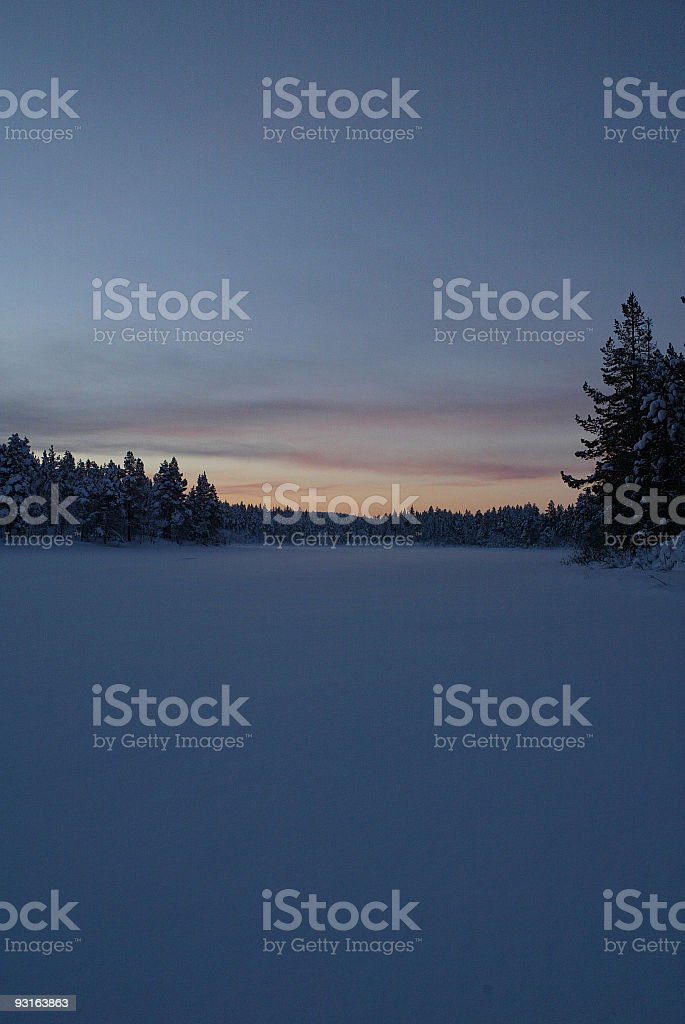 Sunset in Winter Landscape royalty-free stock photo