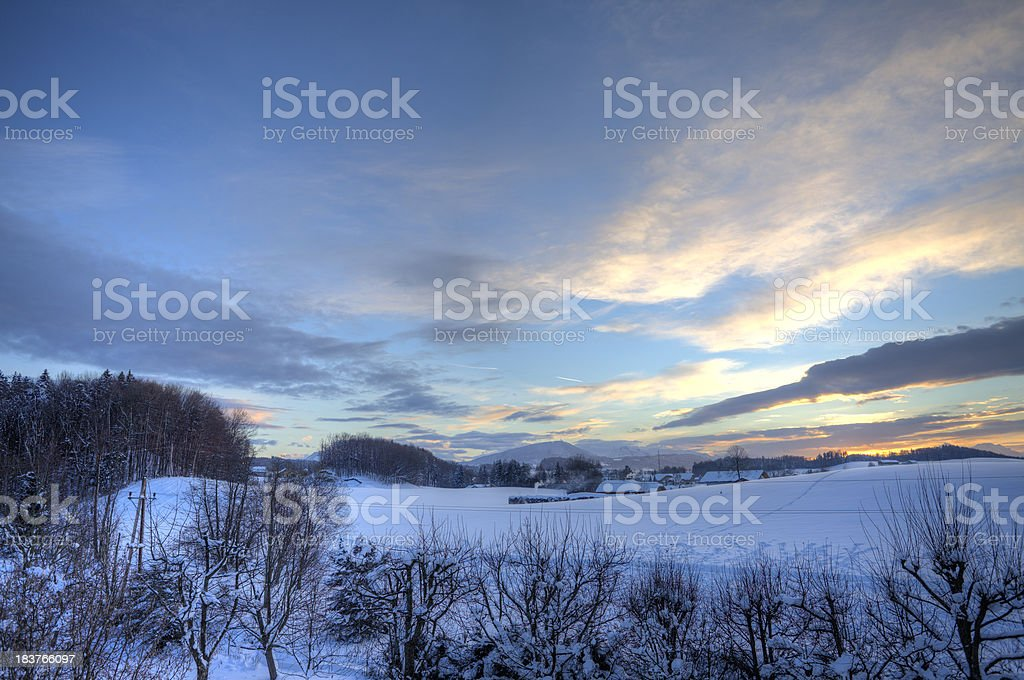 sunset in winter (hdr-image) royalty-free stock photo