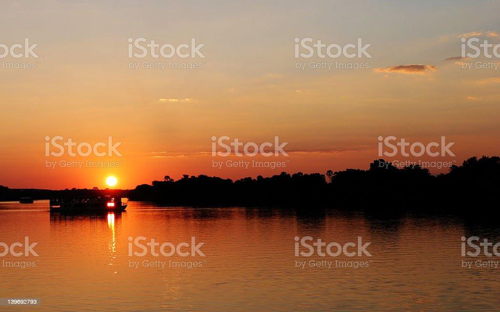 Sunset in Zimbabwe over Zambezi river royalty-free stock photo
