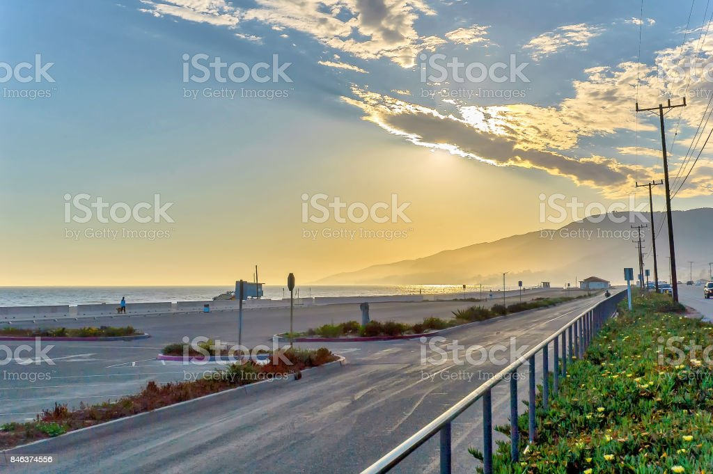 Sunset in Zuma Beach, California stock photo