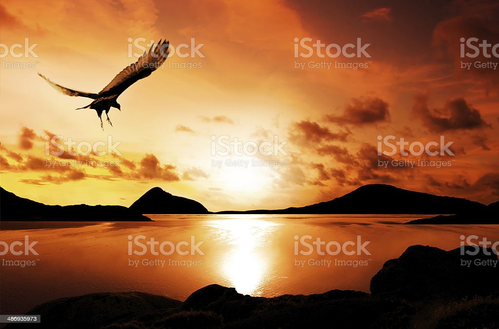 Sunset Islands stock photo
