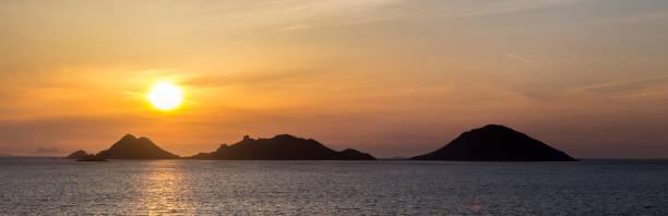 Turgutreis Bodrum 'da Sunset Adaları manzarası stok fotoğrafı