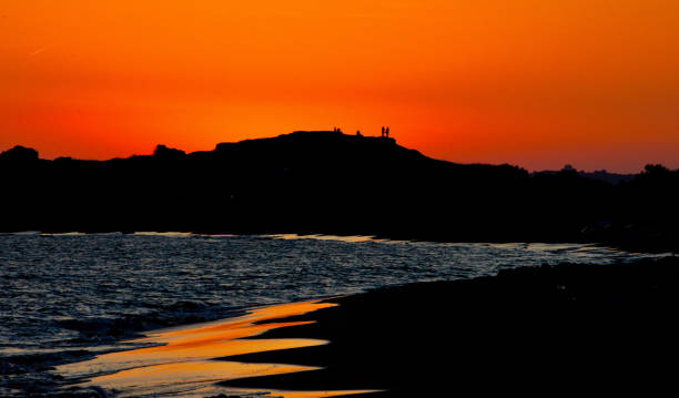 Sunset Issos Dunes, Corfu, Greece stock photo