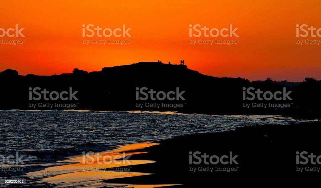Sunset Issos Dunes, Corfu Greece stock photo