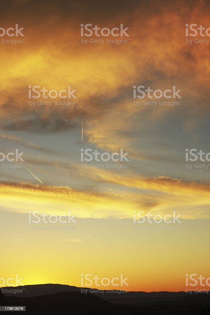 Sunset Jet Trail Desert Silhouette royalty-free stock photo