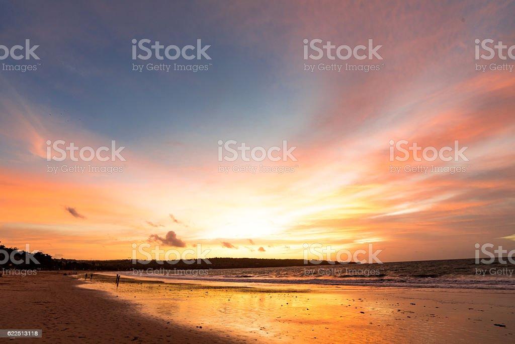 Sunset Jimbaran Beach stock photo