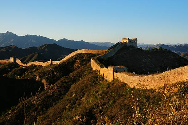 sunset jinshanling great wall - chinese military bildbanksfoton och bilder