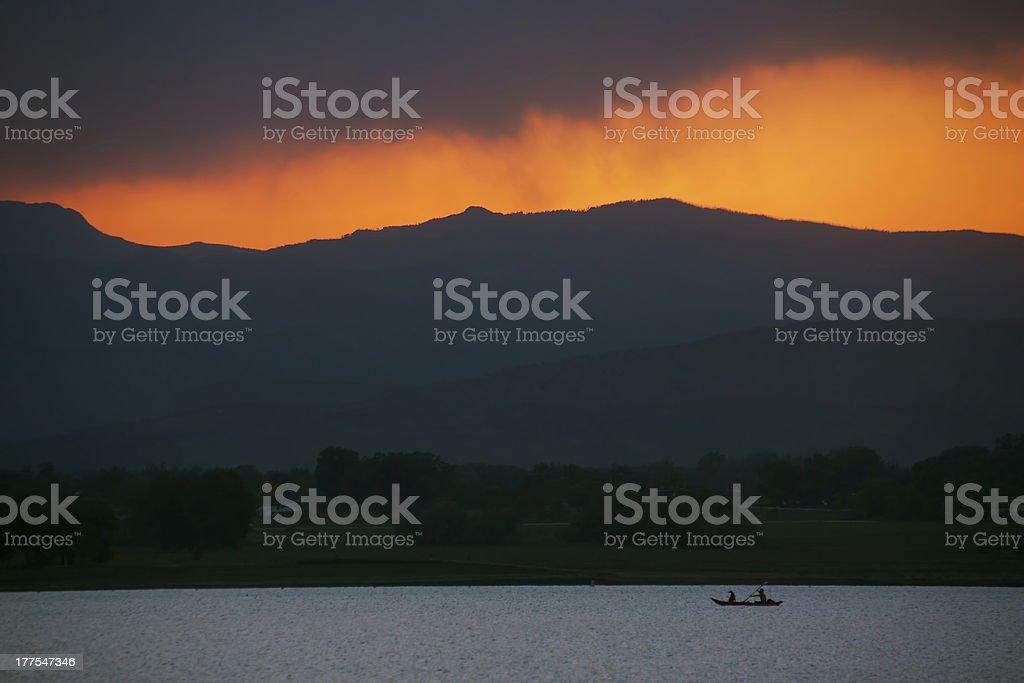 Sunset Kayak stock photo