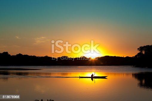 Subject: Kayaking in Lake of the Isles of Minneapolis, Minnesota at sunset.