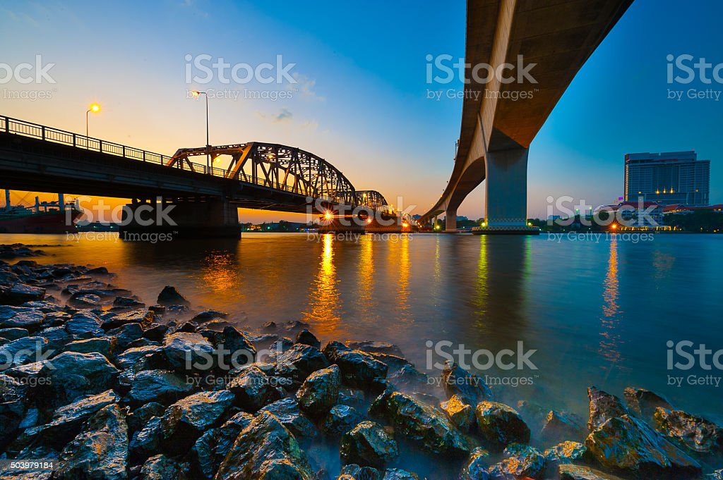 Sunset  Krung Thep Bridge stock photo