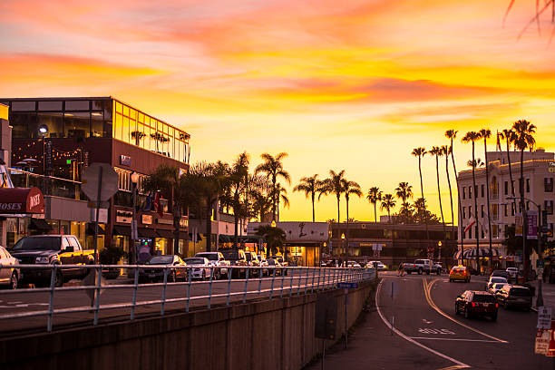 Sunset La Jolla, California, USA stock photo