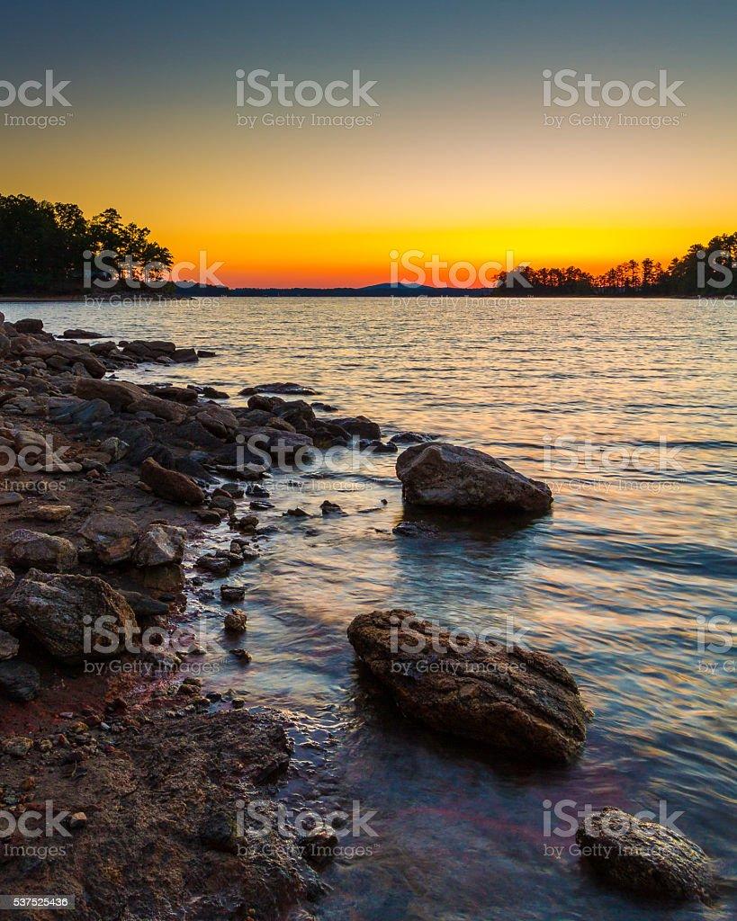 Sunset Lake Lanier stock photo