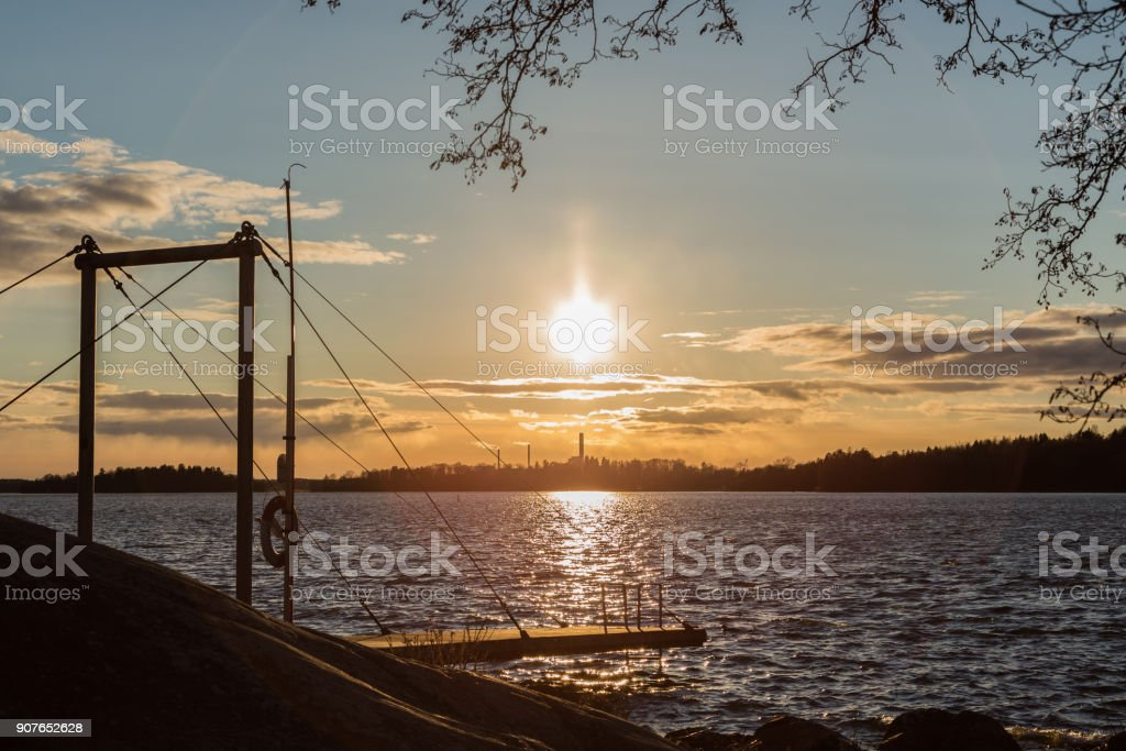 Sunset lake stock photo