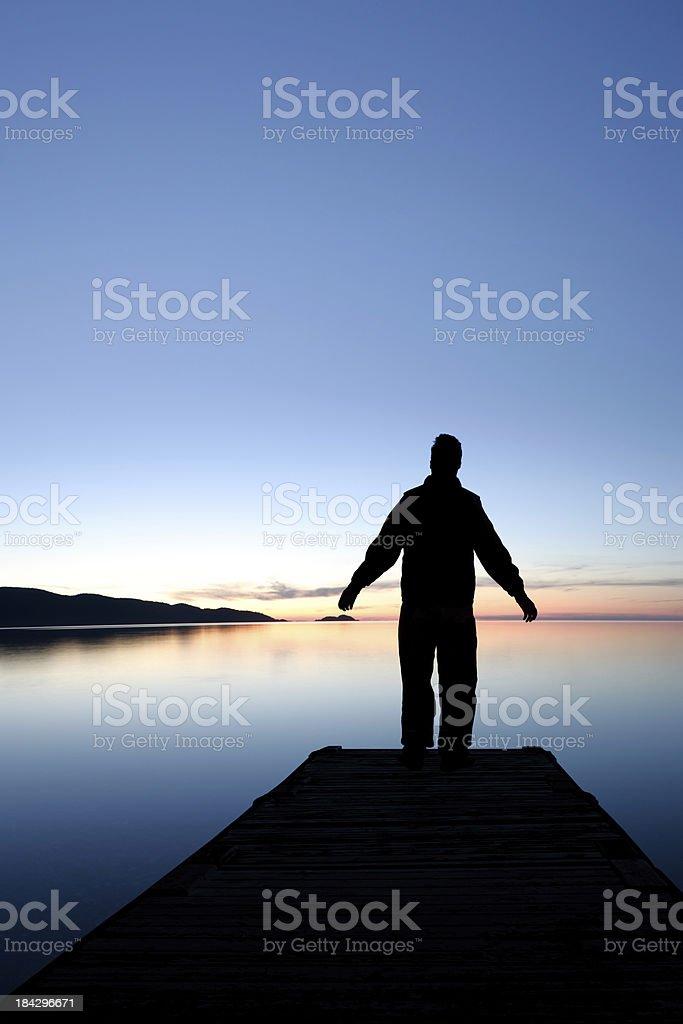 XXXL sunset lake silhouette royalty-free stock photo