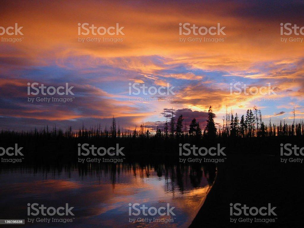 Sunset Lakeside royalty-free stock photo