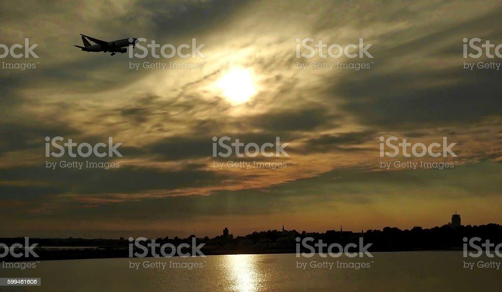 Sunset Landing stock photo