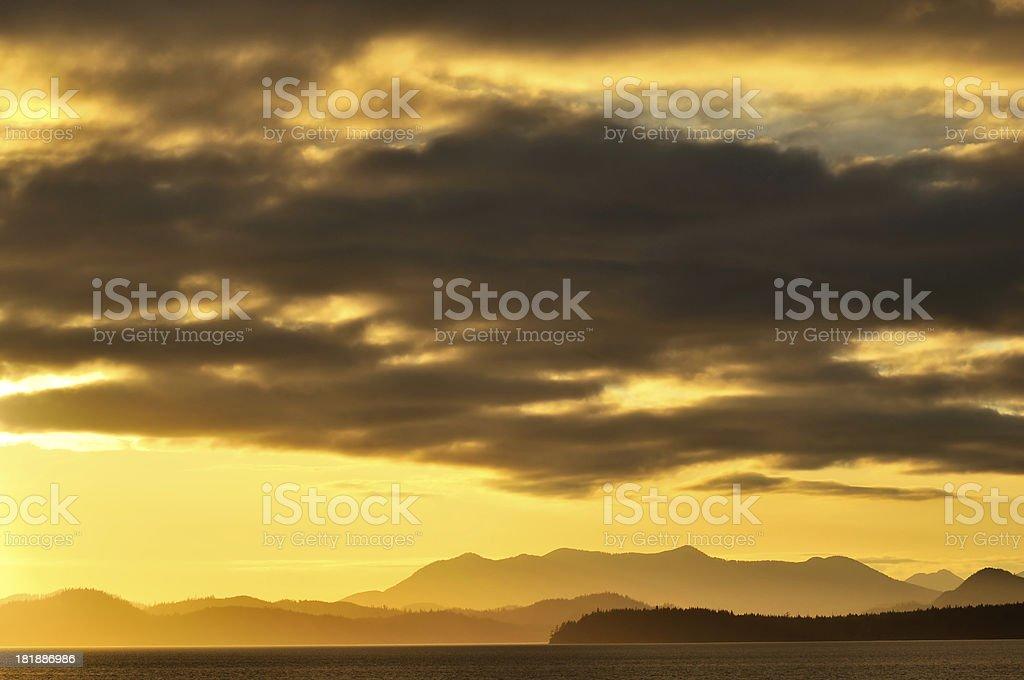 Sunset landscape at Kennedy Lake, Vancouver Island royalty-free stock photo