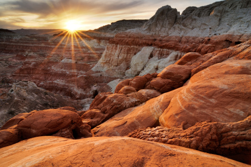Sunset landscape at Paria Rimrocks, Utah, USA